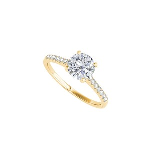 LoveBrightJewelry Cubic Zirconia Engagement Ring In 14k Yellow Gold