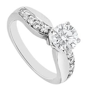 LoveBrightJewelry Cubic Zirconia Engagement Ring in Sterling Silver 0.75 carat TGW