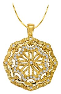 LoveBrightJewelry Cubic Zirconia Fancy Circle Fashion Pendant in Gold Vermeil over Sterling Silver 0.25 CT TGW