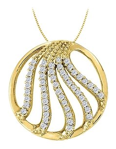 LoveBrightJewelry Cubic Zirconia Fancy Circle Fashion Pendant in Gold Vermeil over Sterling Silver 0.50 CT TGW