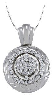 LoveBrightJewelry Cubic Zirconia Fancy Circle Fashion Pendant in Sterling Silver 0.25 CT TGW,Jewelry for Women