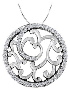 LoveBrightJewelry Cubic Zirconia Fancy Circle Fashion Pendant in Sterling Silver 0.50 CT TGW,Jewelry Gift