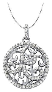 LoveBrightJewelry Cubic Zirconia Fancy Circle Fashion Pendant Sterling Silver 0.50 CT TGW,Jewelry Gift for Women