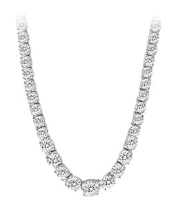 LoveBrightJewelry Cubic Zirconia Graduated Tennis Necklace in Sterling Silver 16CaratCZs