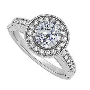 LoveBrightJewelry Cubic Zirconia Halo Engagement Ring In Sterling Silver 0.50 Ct Tgw Amazing Design Reasonable Pri