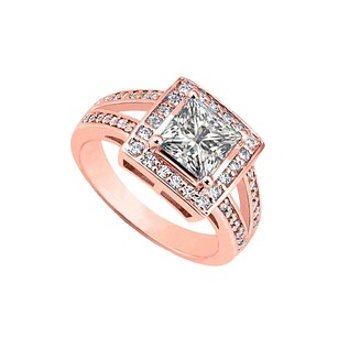 LoveBrightJewelry Cubic Zirconia Halo Engagement Rings In 14k Rose Gold Vermeil April Birthday Gift 1.5 Ct Tgw