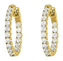 LoveBrightJewelry Cubic Zirconia Hoop Earrings for Women in 14K Yellow Gold 3.50 CT TGW