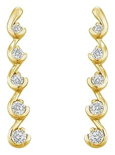 LoveBrightJewelry Cubic Zirconia Journey Earrings 18K Yellow Gold Vermeil 0.50 CT CZs