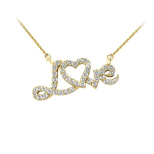 LoveBrightJewelry Cubic Zirconia Love Pendant In 18k Yellow Gold Vermeil With A Free 16 Inch Chain Stunning Looks
