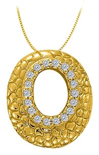 LoveBrightJewelry Cubic Zirconia Oval Fashion Pendant in Gold Vermeil over Sterling Silver 0.25 CT TGW
