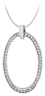 LoveBrightJewelry Cubic Zirconia Oval Fashion Pendant in Sterling Silver 0.75 CT TGW,Jewelry Gift for Women