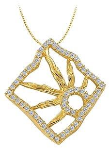 LoveBrightJewelry Cubic Zirconia Squarish Pendant in Gold Vermeil over Sterling Silver 0.25 CT TGW,Jewelry Gift