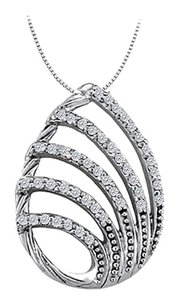 LoveBrightJewelry Cubic Zirconia Tear Drop Pendant in Sterling Silver 0.25 CT TGW,Perfect Jewelry Gift for Women