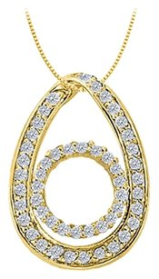 LoveBrightJewelry Cubic Zirconia Teardrop Fashion Pendant in Gold Vermeil over Sterling Silver 0.50 CT TGW