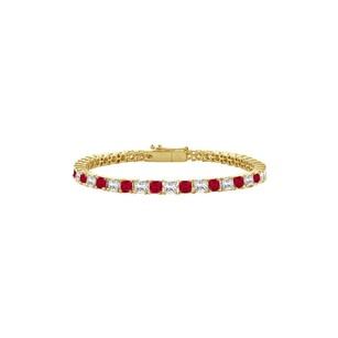 LoveBrightJewelry Cubic Zirconia Tennis Bracelet with 3.00 CT TGW on Yellow Gold