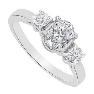 LoveBrightJewelry Cubic Zirconia Three Stones Ring In 925 Sterling Silver