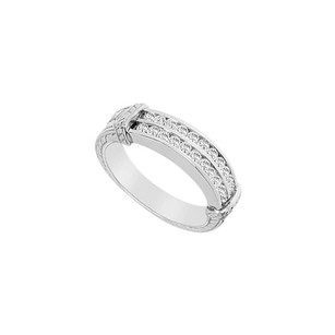 LoveBrightJewelry Cubic Zirconia Wedding Band 14k White Gold 0.66 Ct Cubic Zirconia
