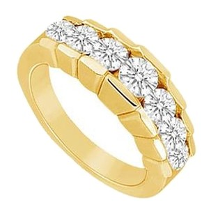 LoveBrightJewelry Cubic Zirconia Wedding Band 18K Yellow Gold Vermeil 0.66 CT CZs