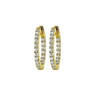 LoveBrightJewelry Cz 25mm Round Prong Set .05 Inside Out Hoop Earrings In 14kt Yellow Gold Over Sterling Silver