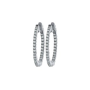 LoveBrightJewelry Cz 25mm Round Prong.01 Inside Out Hoop Earrings In White Rhodium Over Sterling Silver