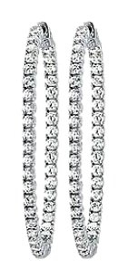 LoveBrightJewelry CZ 50mm Round Prong.05 Inside Out Hoop Earrings in White Rhodium over Sterling Silver
