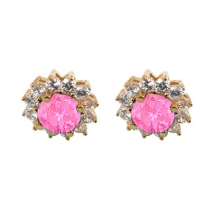 LoveBrightJewelry CZ and Pink Sapphire Floral Stud Earrings 5 CT TGW