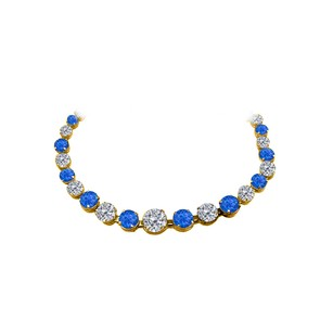 LoveBrightJewelry CZ and Sapphire Graduated Necklace in 14K Yellow Gold