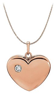 LoveBrightJewelry CZ Heart Pendant in 14K Rose Gold Vermeil Free Chain