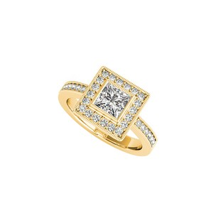 LoveBrightJewelry CZ Perfect Square Halo Engagement Ring in Gold Vermeil