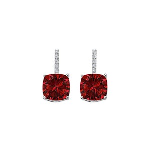LoveBrightJewelry CZ Ruby Square Stud Earrings 925 Sterling Silver