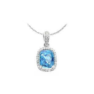 LoveBrightJewelry December Birthstone Blue Topaz And Round Cz In Sterling Silver Pendant