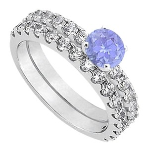 LoveBrightJewelry December Birthstone Created Tanzanite with CZ Engagement Rings with Wedding Band Set in Fine Silver 1.50 CT TGW