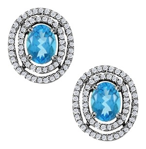 LoveBrightJewelry December Birthstone Oval Blue Topaz with CZ Earrings in Sterling Silver