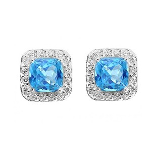 LoveBrightJewelry December Birthstone Square Blue Topaz And Round Cz In Sterling Silver Earrings