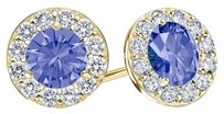 LoveBrightJewelry December Birthstone Tanzanite and CZ Halo Stud Earrings 18K Yellow Gold Vermeil 1.50 CT TGW