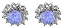 LoveBrightJewelry December Birthstone Tanzanite with CZ Earrings in 14K White Gold