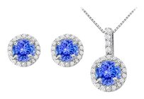 LoveBrightJewelry December Birthstone Tanzanite with CZ Halo Earrings and Pendant in 925 Sterling Silver