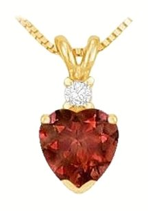 LoveBrightJewelry Diamond and Garnet Solitaire Pendant 14K Yellow Gold 1.00 CT TGW