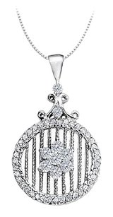 LoveBrightJewelry Diamond Circle Fancy Fashion Pendant 0.75 CT TDW