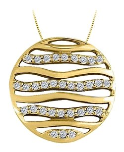 LoveBrightJewelry Diamond Circle Fashion Pendant in 14K Yellow Gold 0.50 CT TDW