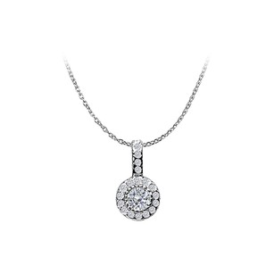 LoveBrightJewelry Diamond Circle Pendant 14K White Gold 0.55 CT Diamonds
