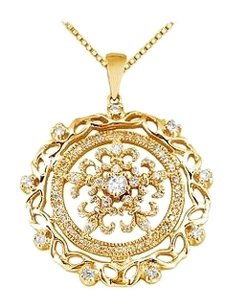 LoveBrightJewelry Diamond Circle Pendant 14K Yellow Gold 0.66 CT Diamonds