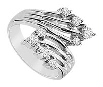 LoveBrightJewelry Diamond Crossover Ring 14K White Gold 0.50 CT Diamonds