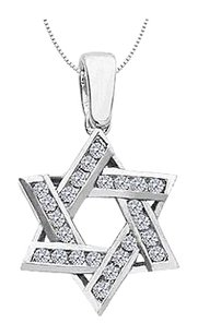 LoveBrightJewelry Diamond Entwined Star of David Pendant 0.60 Carat Diamonds