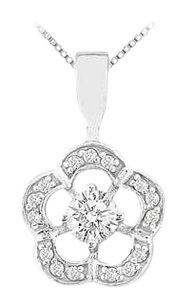 LoveBrightJewelry Diamond Flower Pendant 14K White Gold 0.50 CT Diamonds
