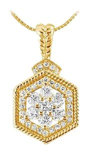 LoveBrightJewelry Diamond Geometric Design Pendant 14K Yellow Gold 0.66 CT Diamonds