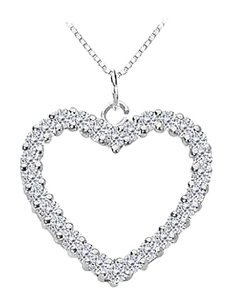 LoveBrightJewelry Diamond Heart Pendant in 14K White Gold 0.75 Carat Diamonds