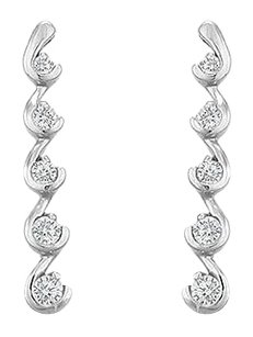 LoveBrightJewelry Diamond Journey Earrings 14K White Gold 0.50 CT Diamonds
