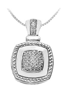 LoveBrightJewelry Diamond Rope Pendant 14K White Gold 0.33 CT Diamonds