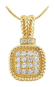 LoveBrightJewelry Diamond Square Pendant 14K Yellow Gold 0.50 CT Diamonds